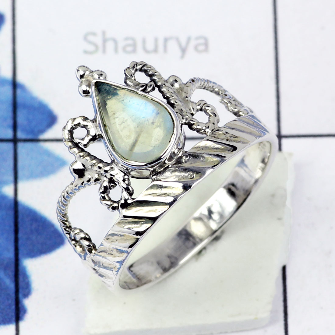 RAINBOW MOONSTONE D - BDR956- EXCLUSIVE NEW COLLECTION OF RAINBOW MOONSTONE RINGS MADE