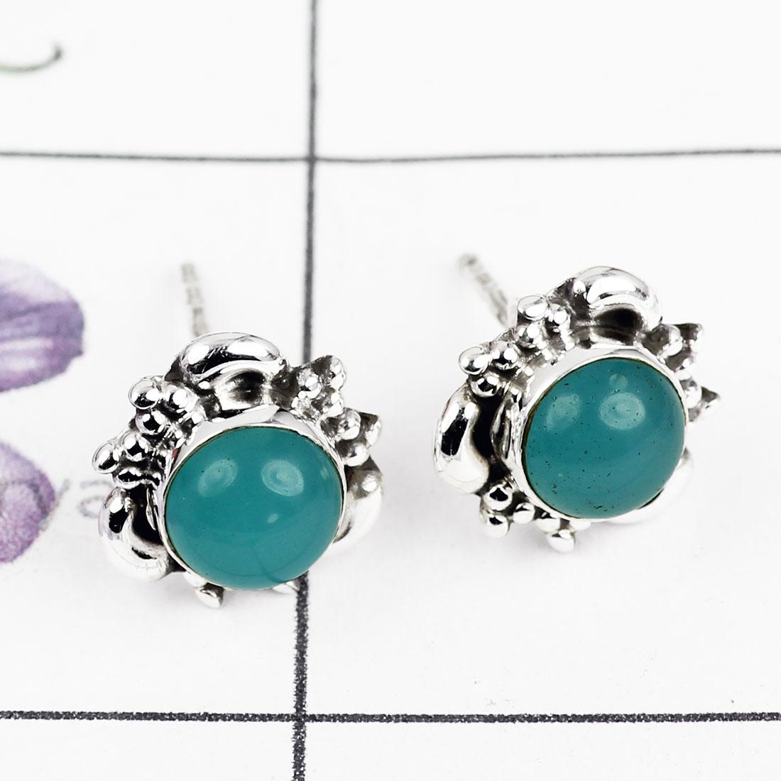 64d53b782 blue chalcedony o - ble997-925 sterling silver designer stud earring ...