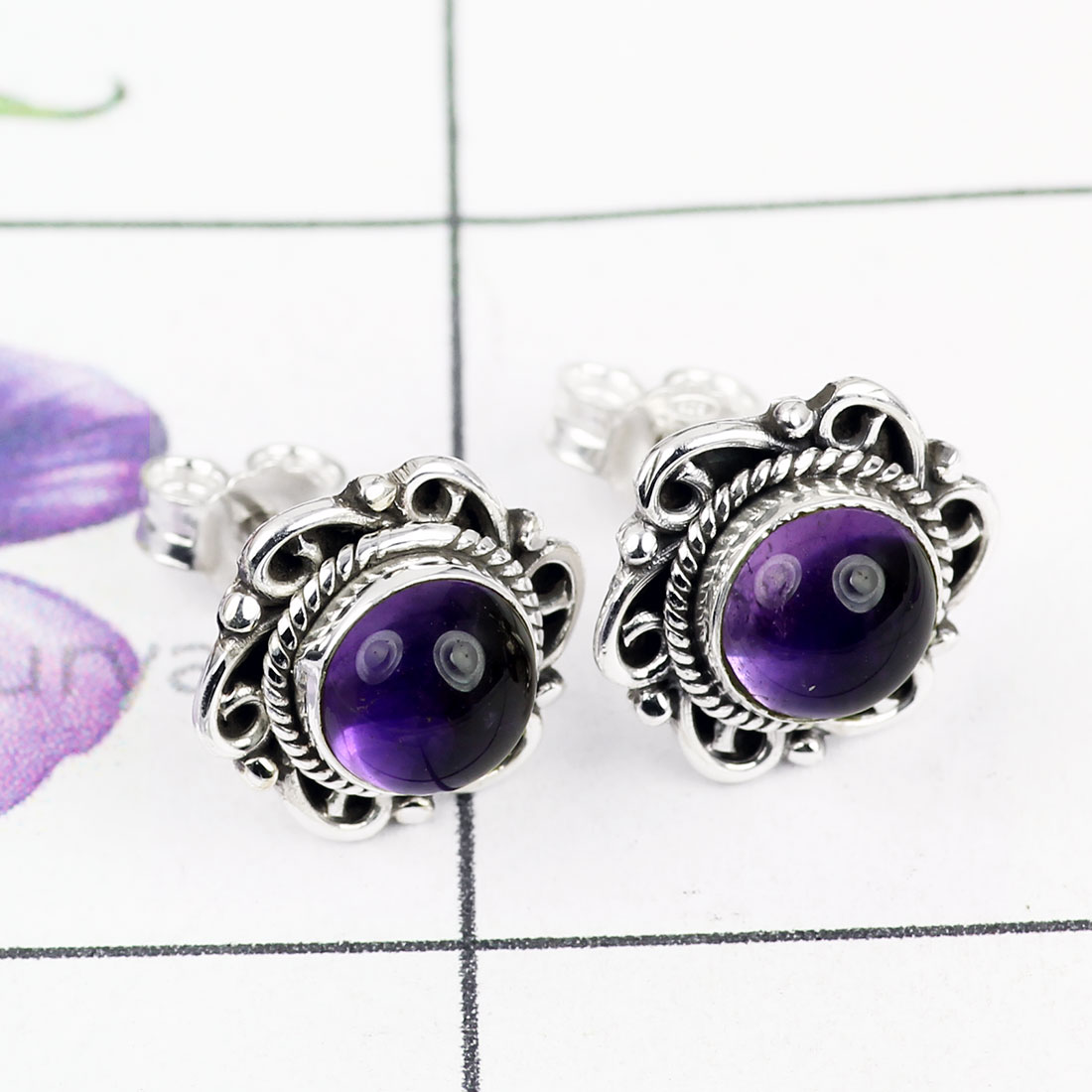 AMETHYST CAB G - BLE995-BEAUTIFUL DESIGNED STUD EARRING WITH 925 STERLING SILVER