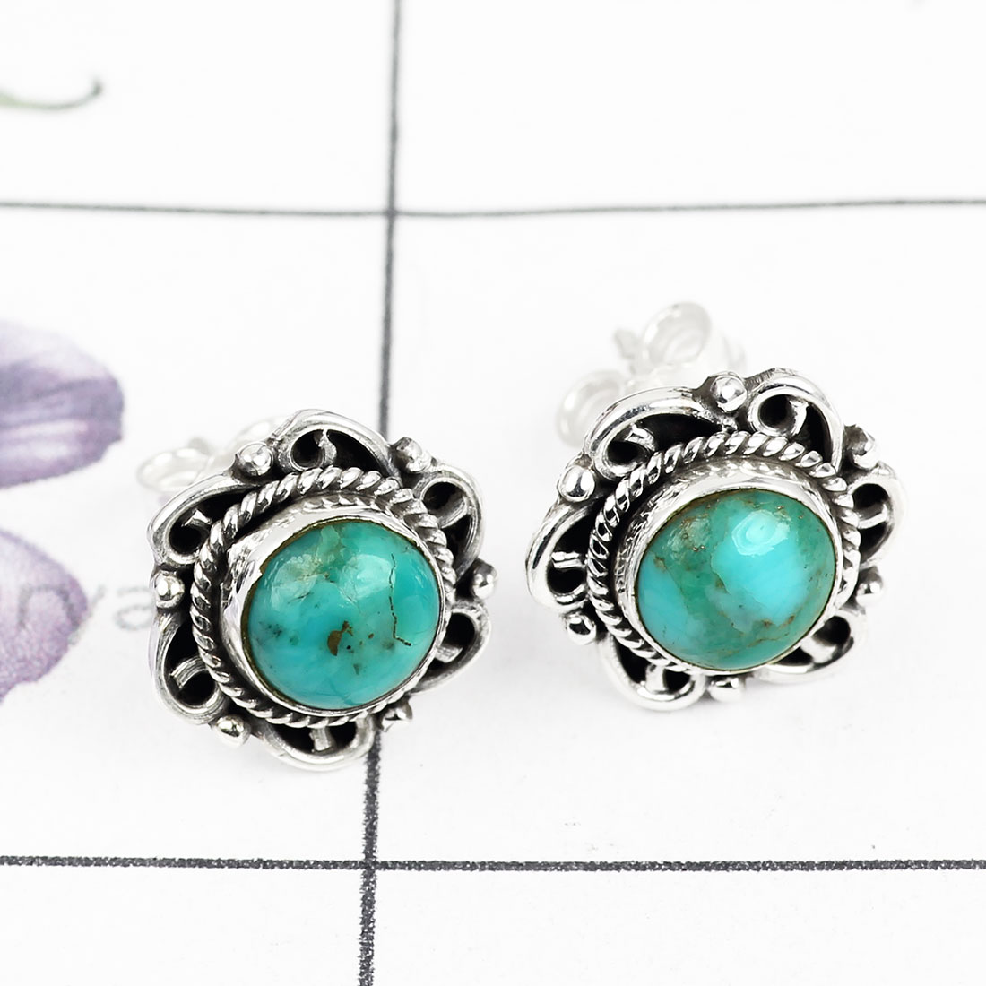 BLUE TURQUOISE H - BLE994-NATURAL GEMSTONE DESIGNER STUD EARRING WITH 925 STERLING