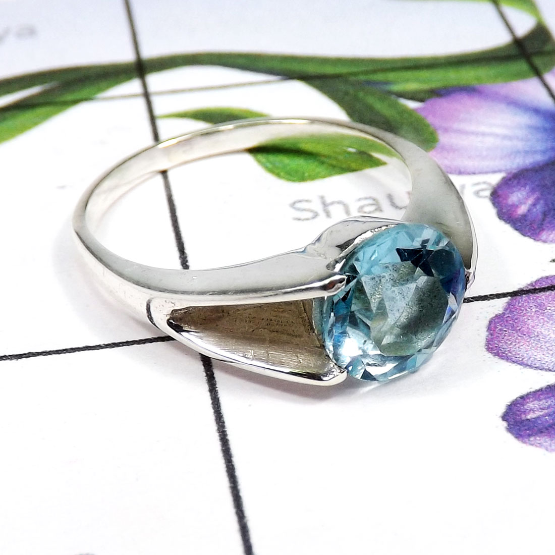 Blue Topaz B - SCR880-EXCLUSIVE NEW DESIGNER CASTING RINGS WITH 925 STERLING SI