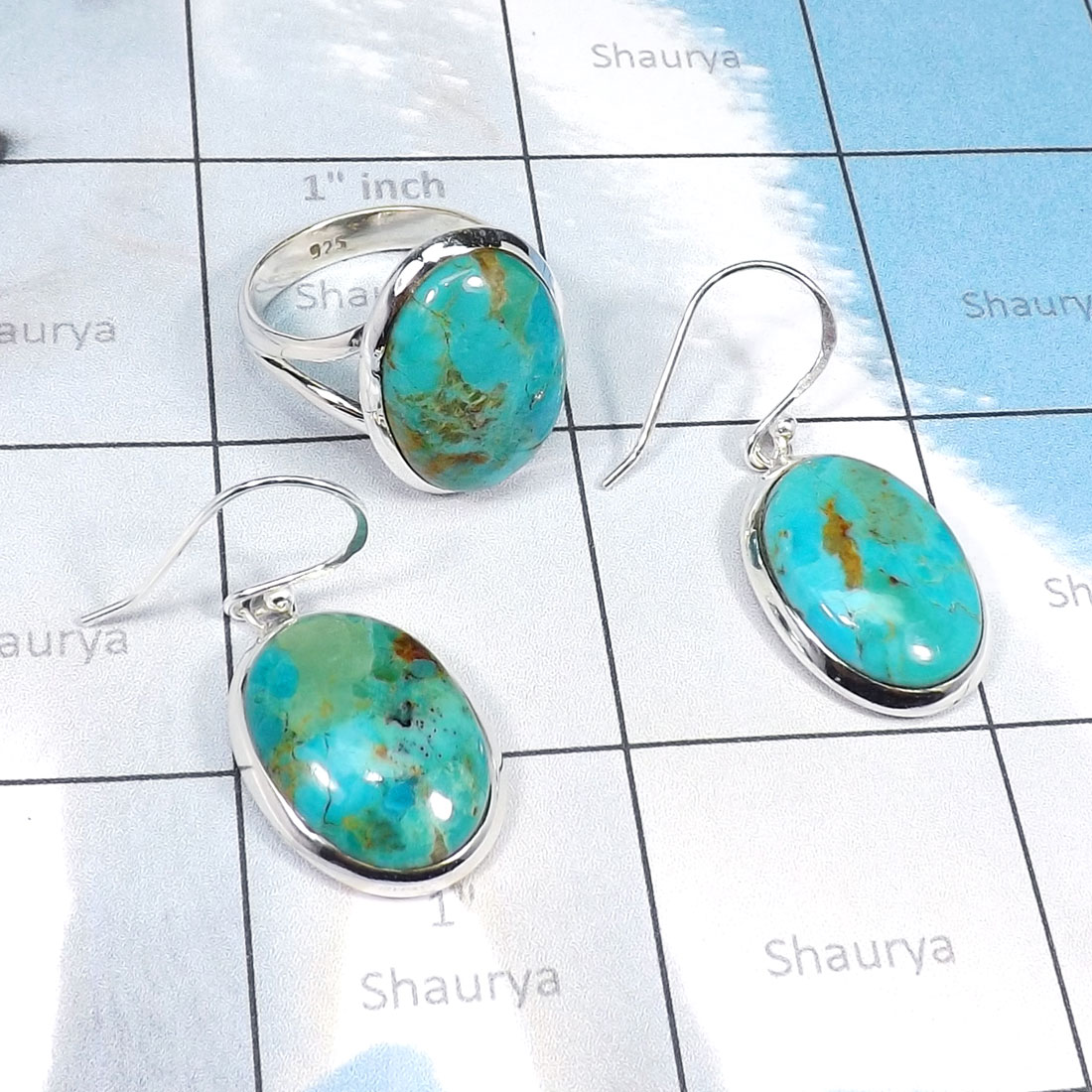 2Pcs Blue Turquoise A - CBS976-Beautiful Ring Earring Wholesale 2Pcs Set of Multi Cab Ge