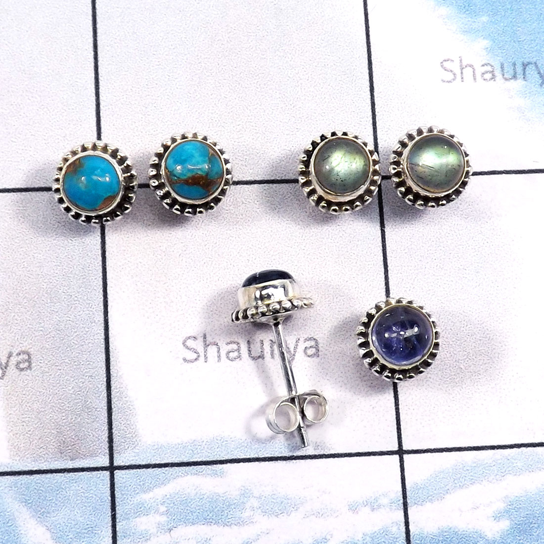 3Pairs Labradorite,Turquouise,Tanzanite Lot A - SSE869-5mm Round Shape Wholesale 3Pairs Stud Earrings With Multi