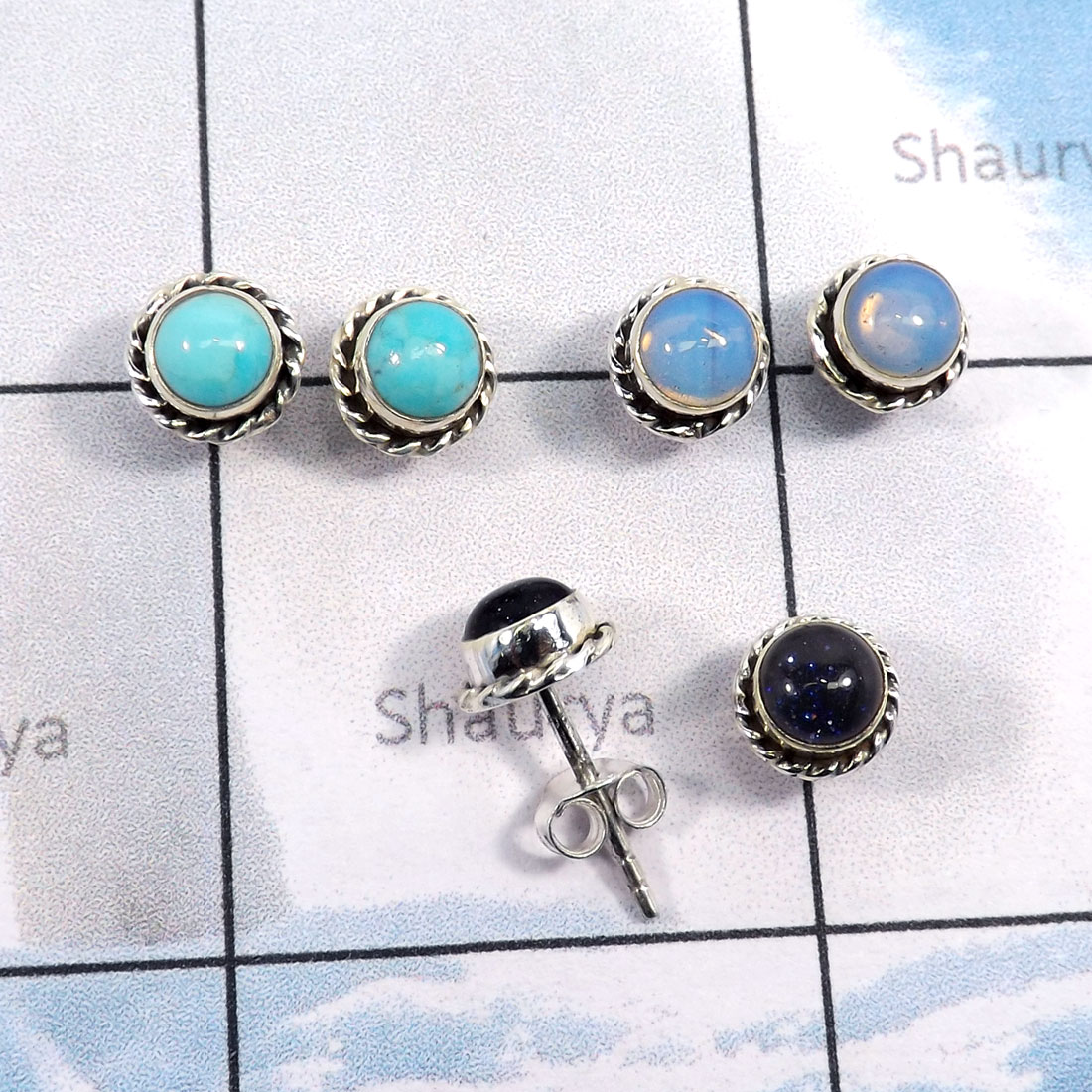 3Pairs Blue Send Stone,Turquoise,Opalite C - SSE868-Wholesale 3Pairs 5mm Round Stud Earrings With Multi Gemst