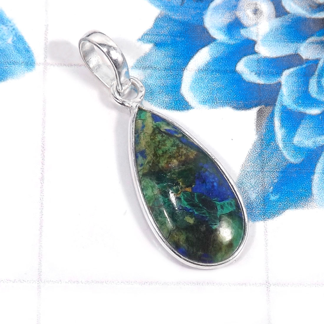 Lapis Azurite M - BPS965-Charming Lapis Azurite 925 Sterling Silver Bezel Pendents