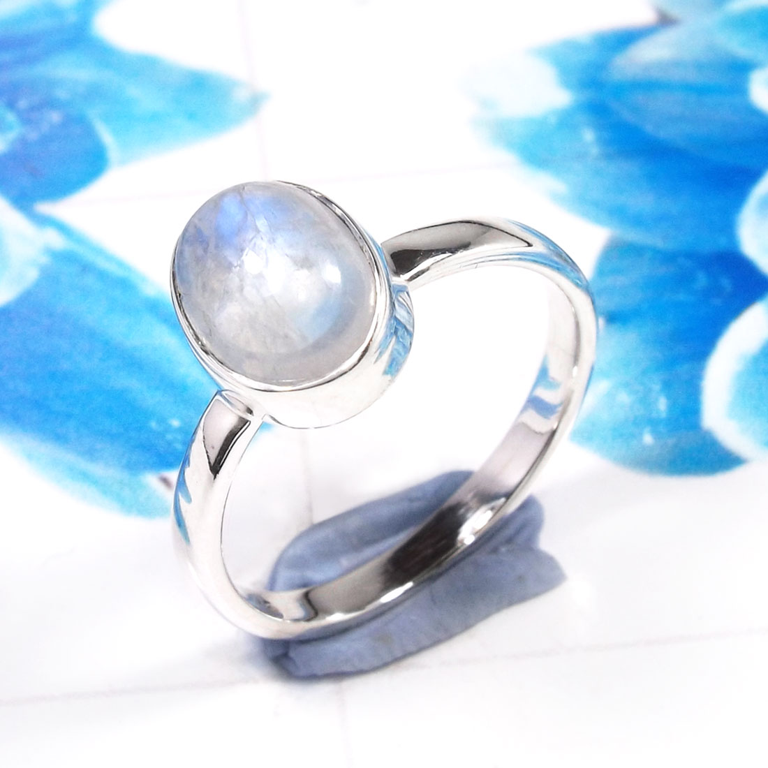 Rainbow Moonstone E - RSS927-925 Sterling Silver Dazzling Company Made Party Wear Ring