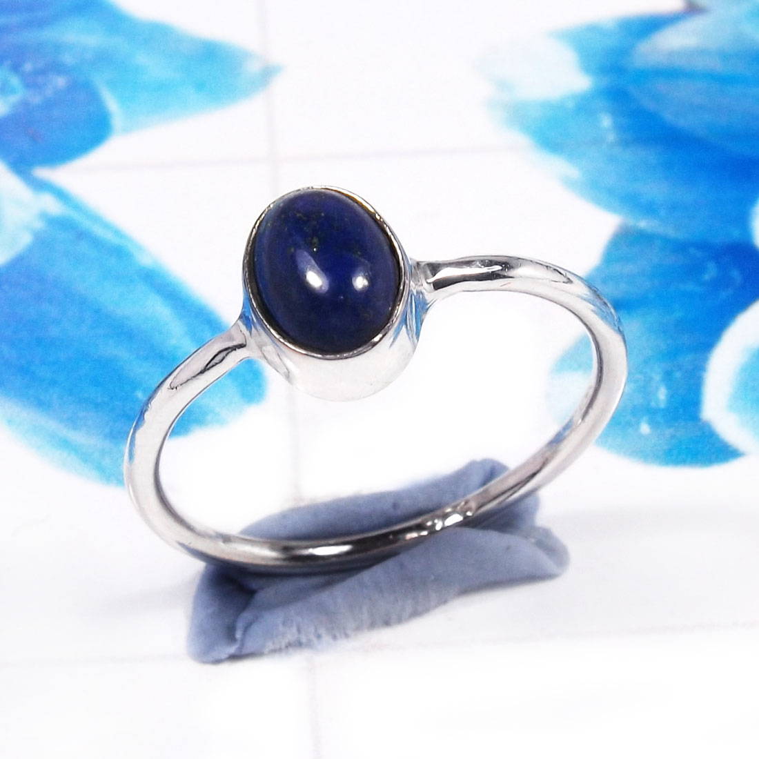 Lapis Lazuli A - RSS926-925 Sterling Silver Gorgeous Fashionable Preety Design Ri