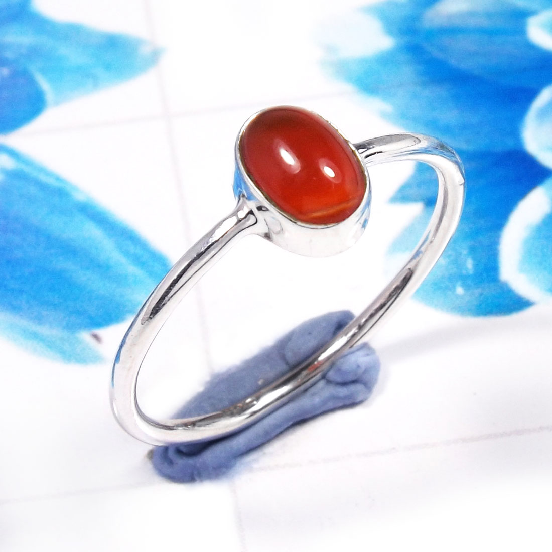 Red Onyx C - RSS926-925 Sterling Silver Gorgeous Fashionable Preety Design Ri