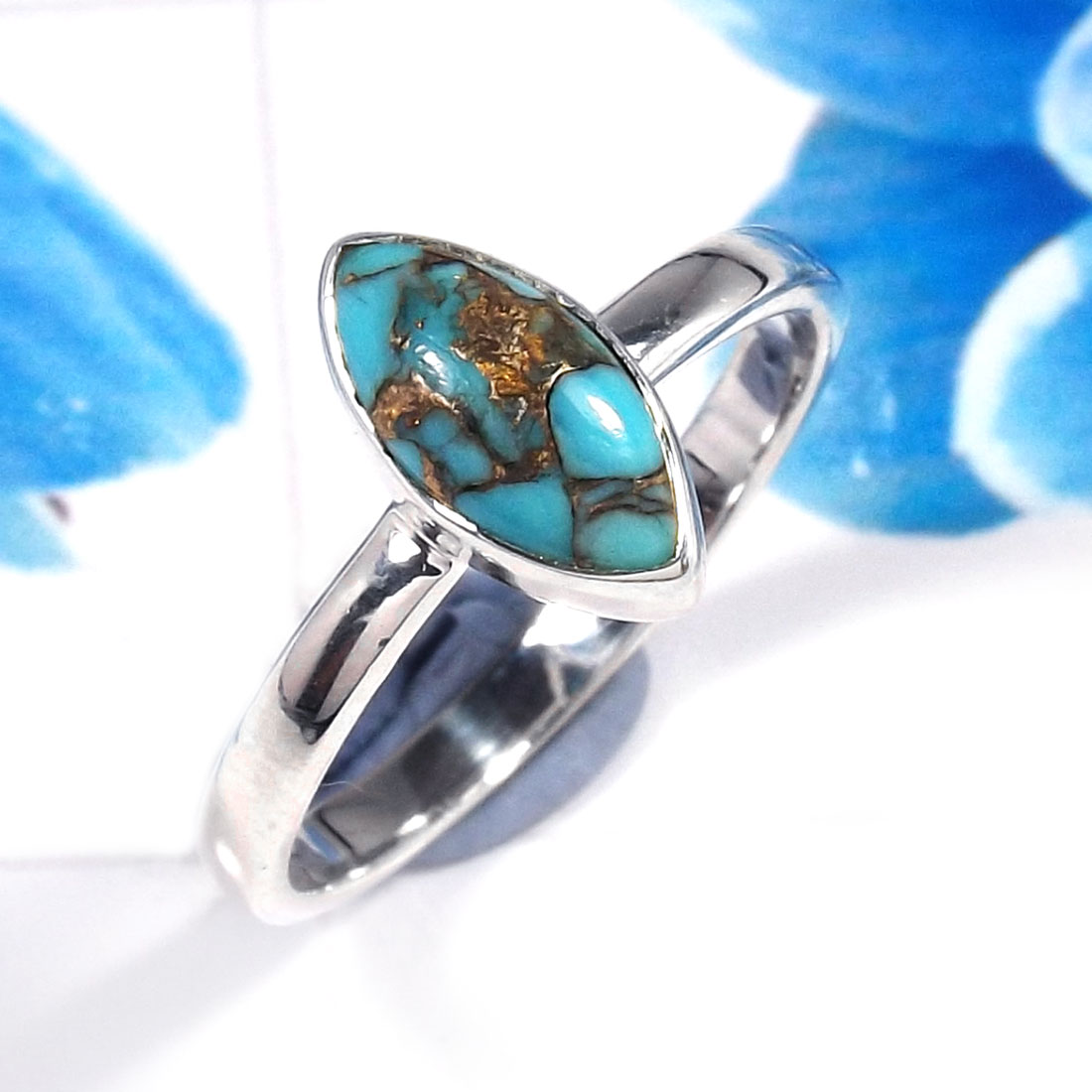 Blue Copper Turquoise E - RSS926-925 Sterling Silver Gorgeous Fashionable Preety Design Ri