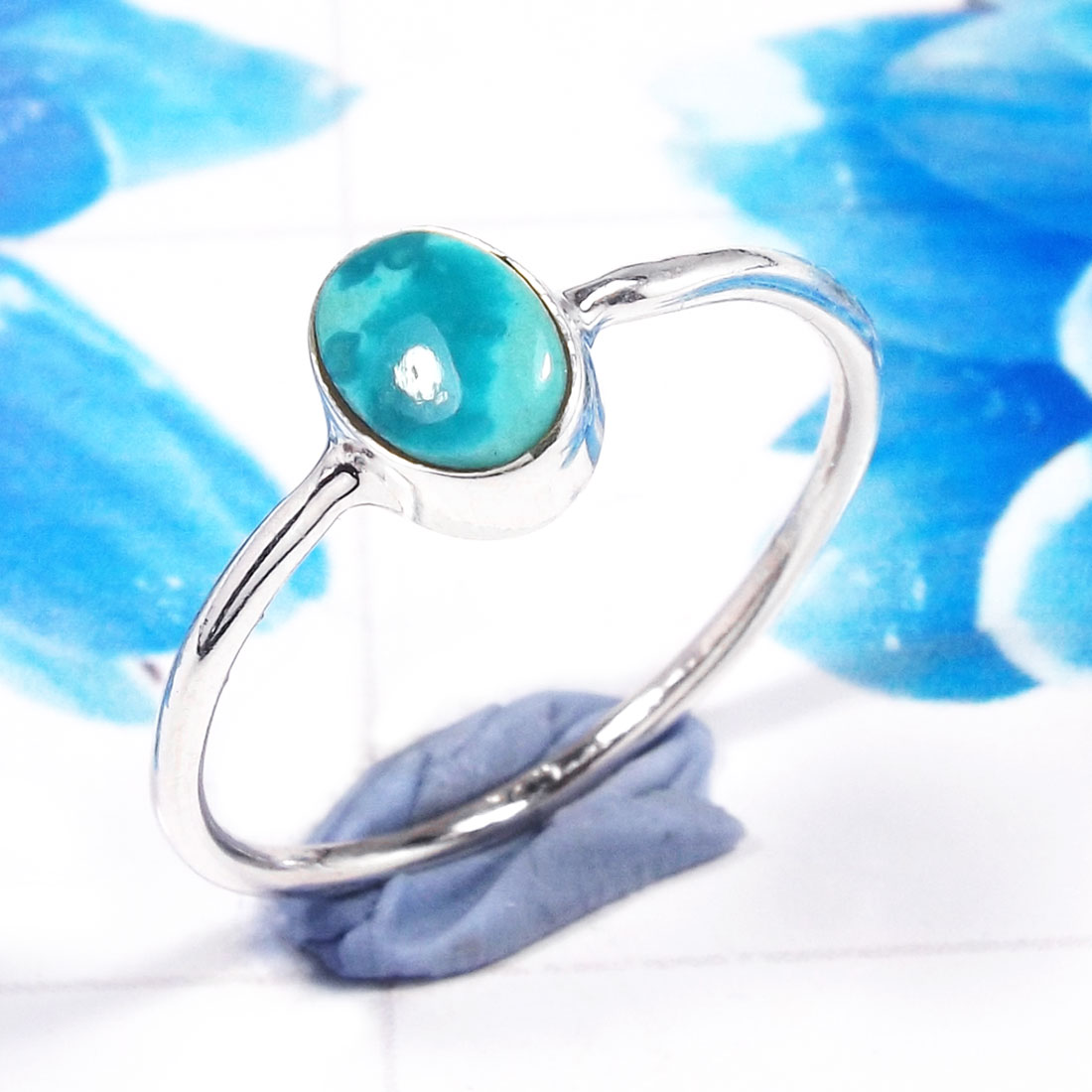 Green Turquoise F - RSS926-925 Sterling Silver Gorgeous Fashionable Preety Design Ri
