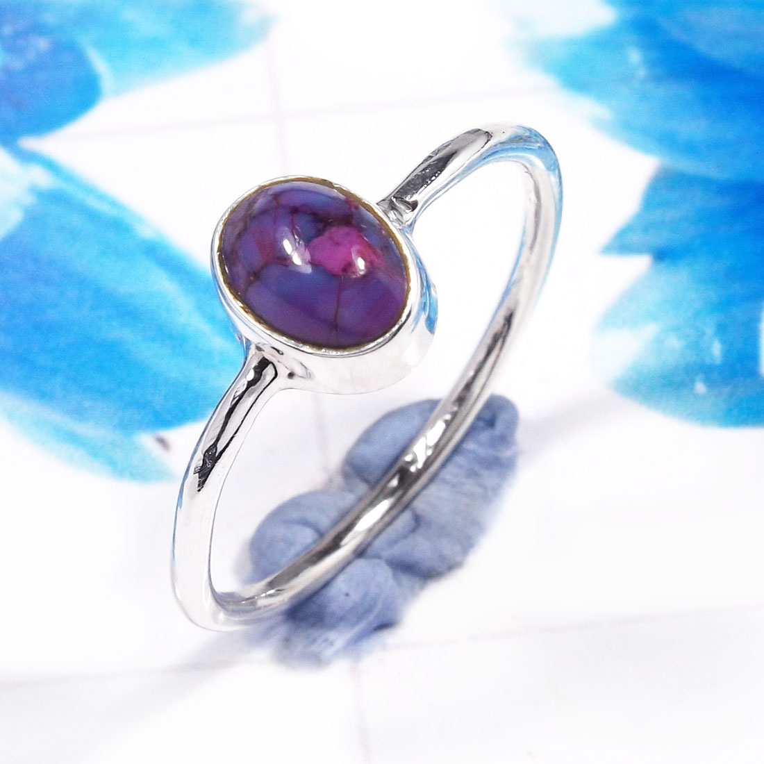 Purple Turquoise H - RSS926-925 Sterling Silver Gorgeous Fashionable Preety Design Ri