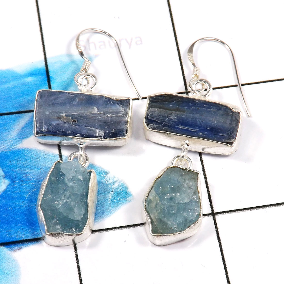 Blue Kynite & Aquamarine Rough G - XSE939-Dazzling Company Made 925 Sterling Silver Rough Stone Jew