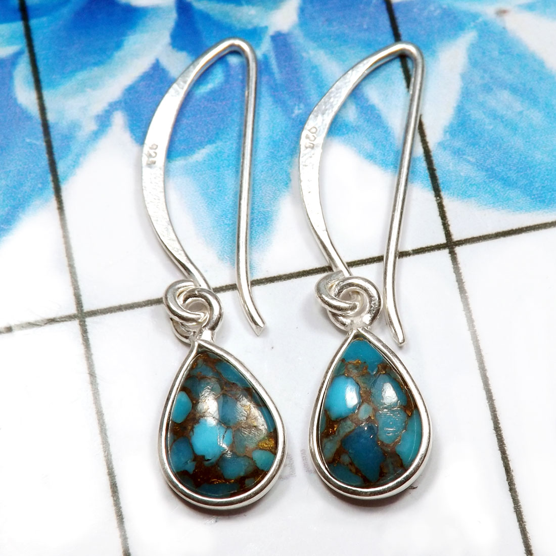 Blue Copper Turquoise J - BZE805-925 Sterling Silver Dazzling Fashionable Bezel Earrings W