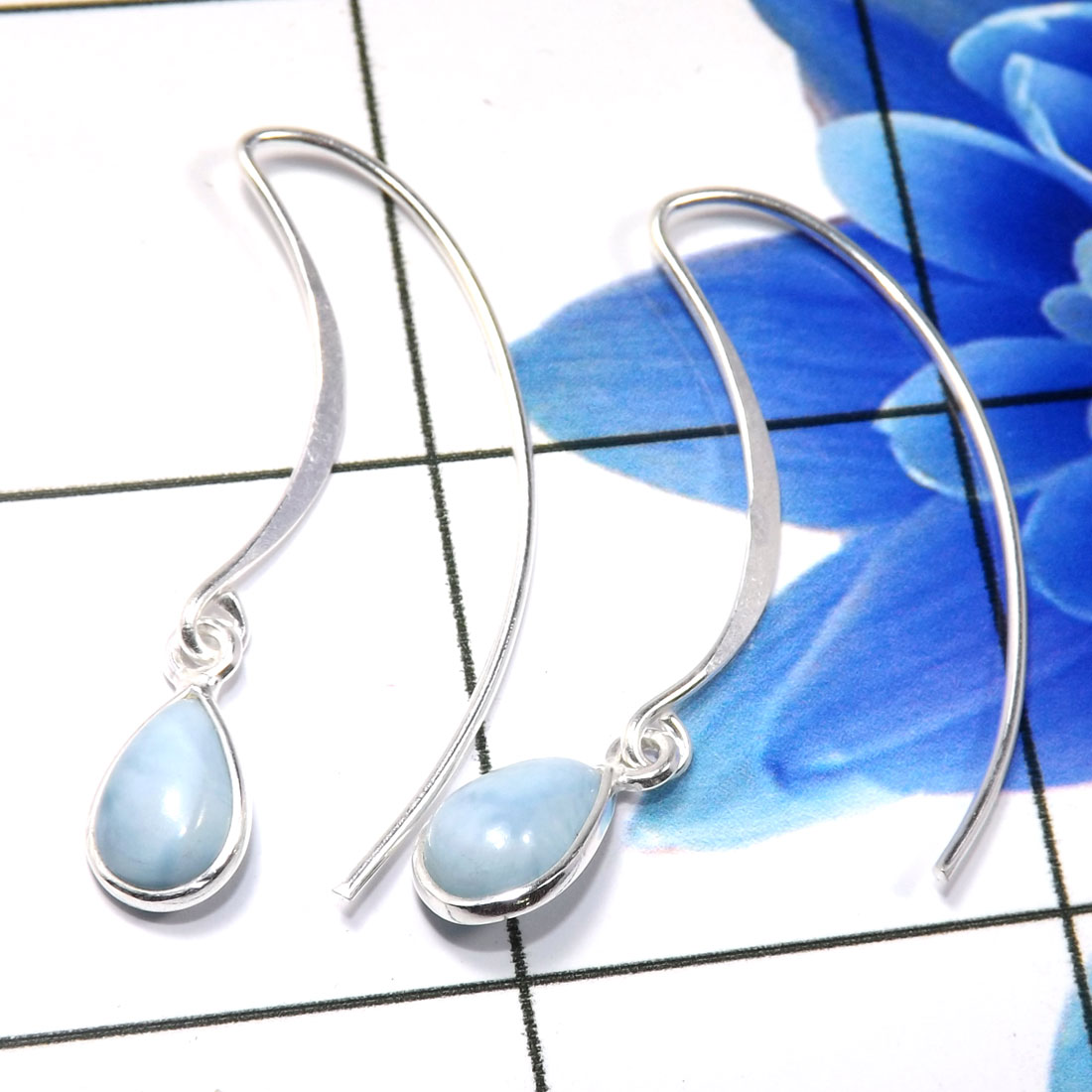 Larimar Cab D - BZE794-Dazzling 925 Sterling Silver Company Made Bezel Earrings