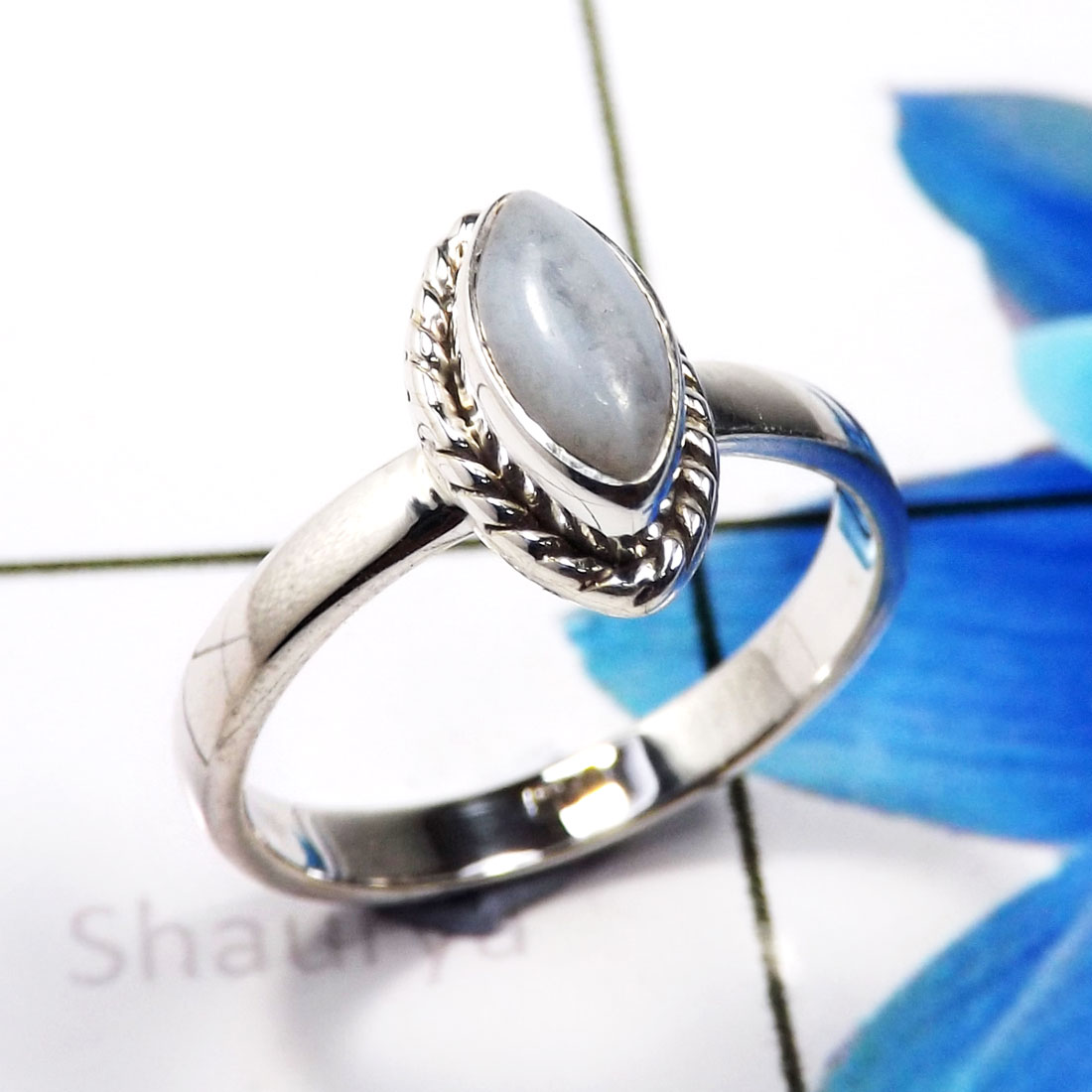 Blue Lace Agate K - RBS936-925 Sterling Silver Beautiful Company Handmade Baby Rings