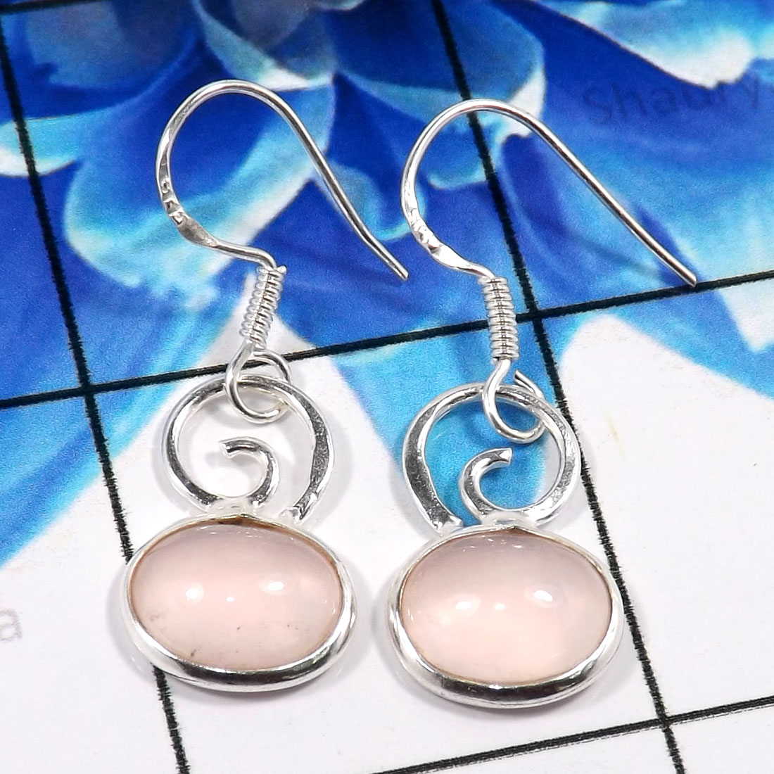 Rose Cab D - BZE788-Trendy 925 Sterling Silver Handmade Bezel Earrings Fashio