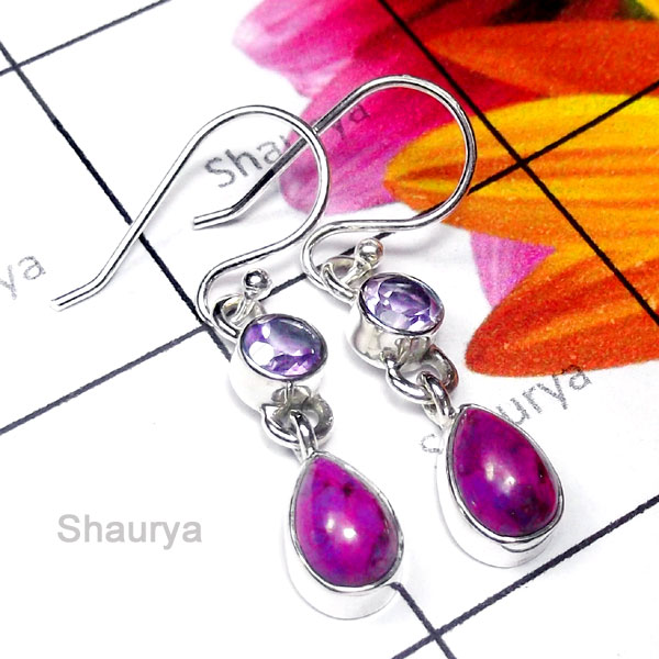 Purple Turquoise B - SDE975-Pretty Design Natural Gemstone Silver Earring