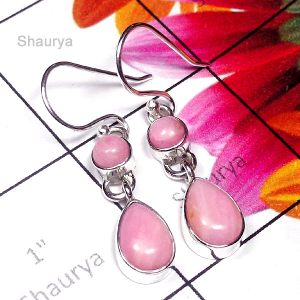 Pink Opal F - SDE975-Pretty Design Natural Gemstone Silver Earring