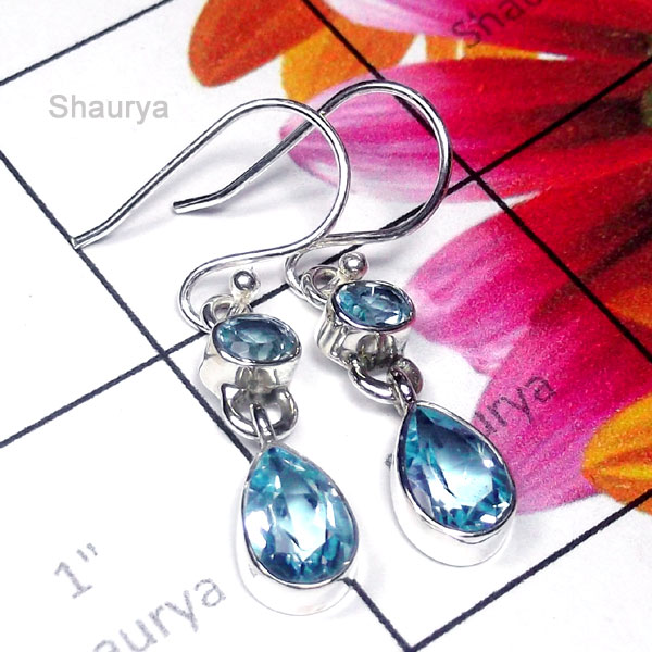 Blue Topaz G - SDE975-Pretty Design Natural Gemstone Silver Earring