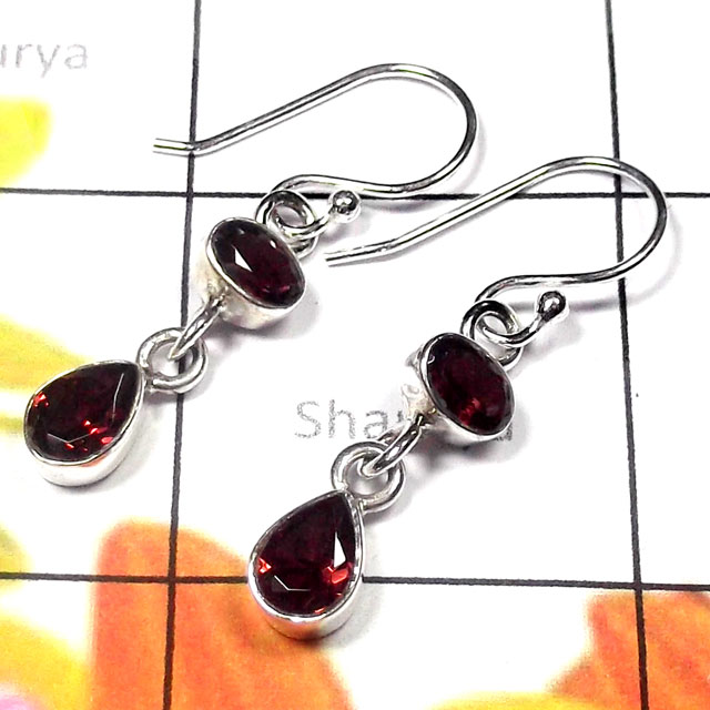 Garnet cut J - SDE975-Pretty Design Natural Gemstone Silver Earring