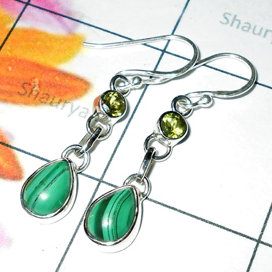 Malachite cab M - SDE975-Pretty Design Natural Gemstone Silver Earring