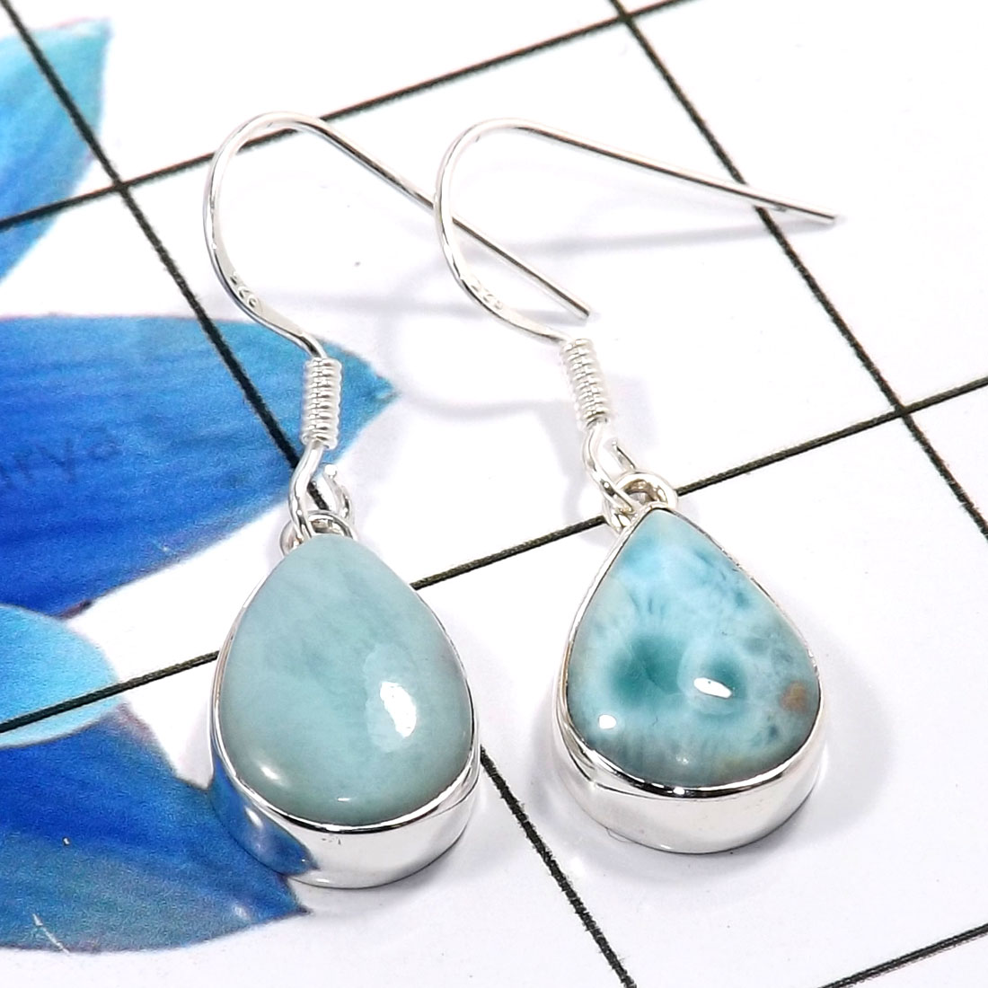 Larimar Cab E - SPE903-Amazing 925 Sterling Silver Factory Handmade Earrings