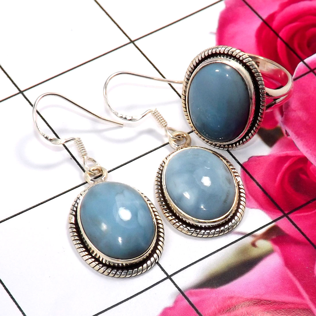 Blue Opal A - NDS956-Stunning Earring & Ring Set Company Made 925 Sterling Sil