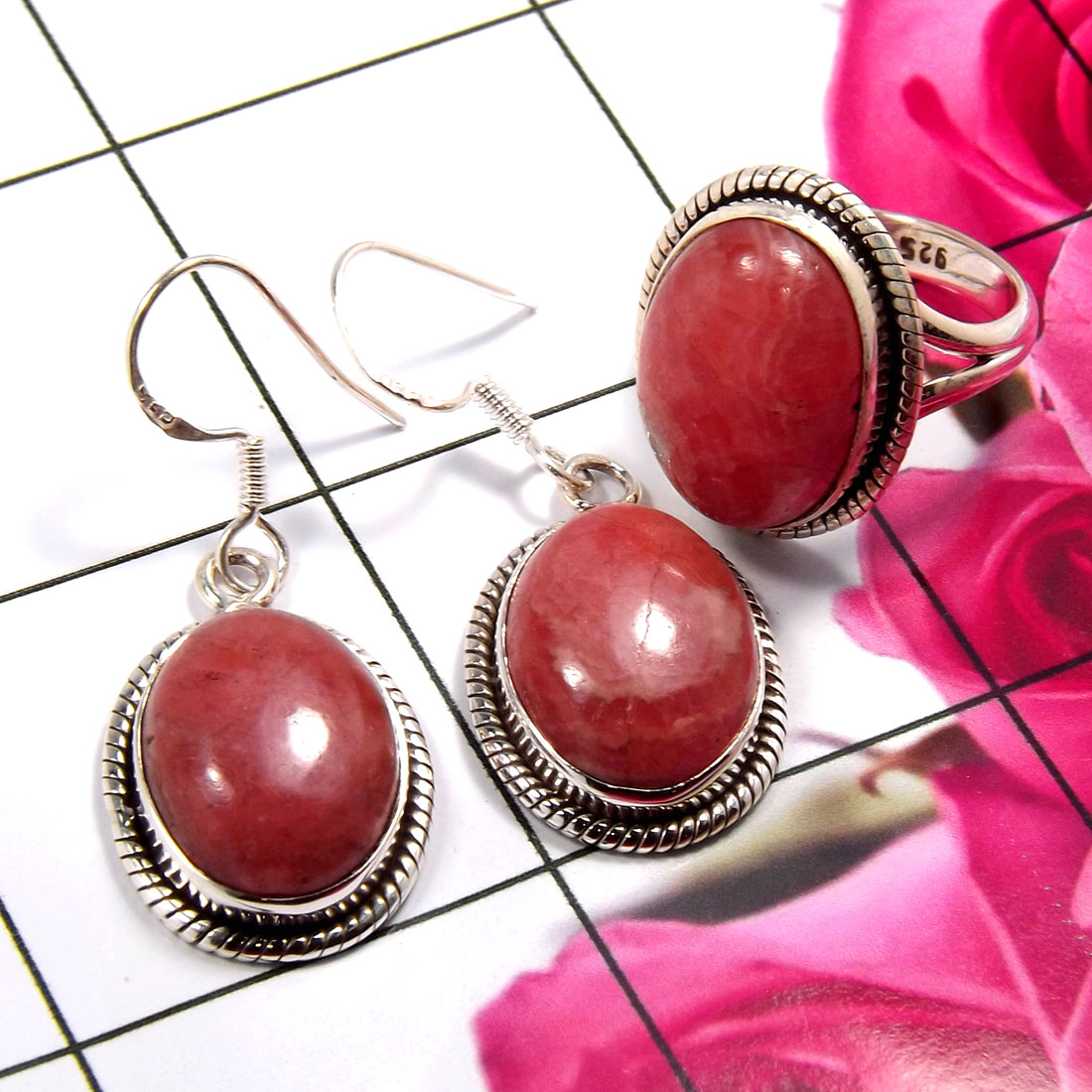 Rhodochrosite C - NDS956-Stunning Earring & Ring Set Company Made 925 Sterling Sil