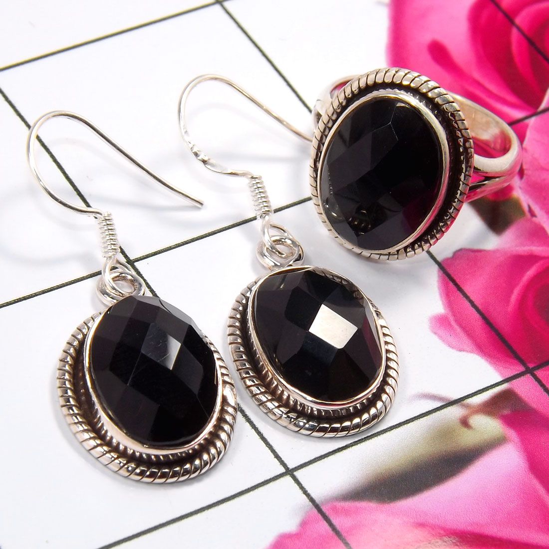 Black Onyx E - NDS956-Stunning Earring & Ring Set Company Made 925 Sterling Sil