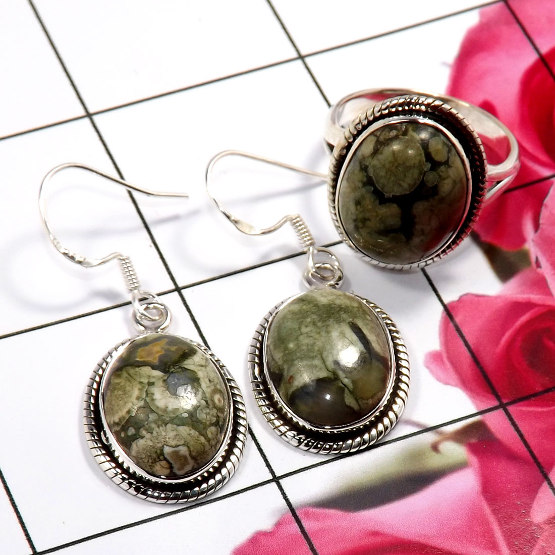 Rhyolite F - NDS956-Stunning Earring & Ring Set Company Made 925 Sterling Sil