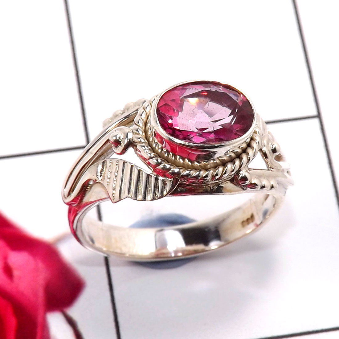 Pink Topaz G - SDR680-Dazzling New Design Wholesale Rings 925 Sterling Silver F