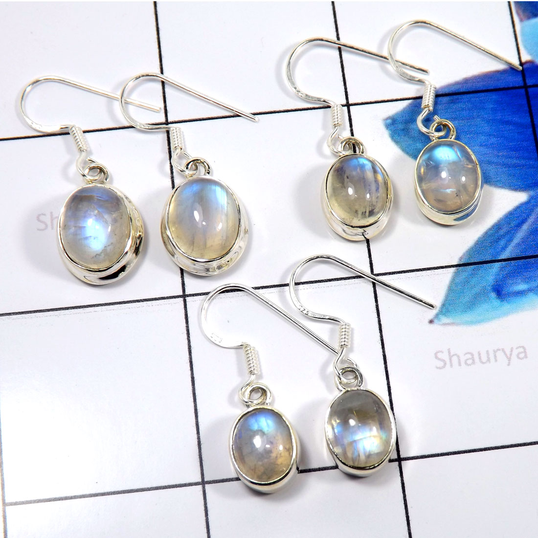 Rainbow Moonstone L - SVP813-Stunning Rainbow Moonstone Wholesale 3 Pcs Set 925 Sterli