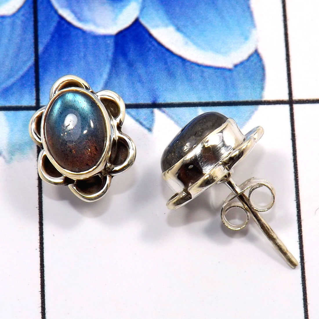 Labradorite Cab A - SSE858-Beautiful Handmade Colorful Stud Earrings 925 Sterling Si