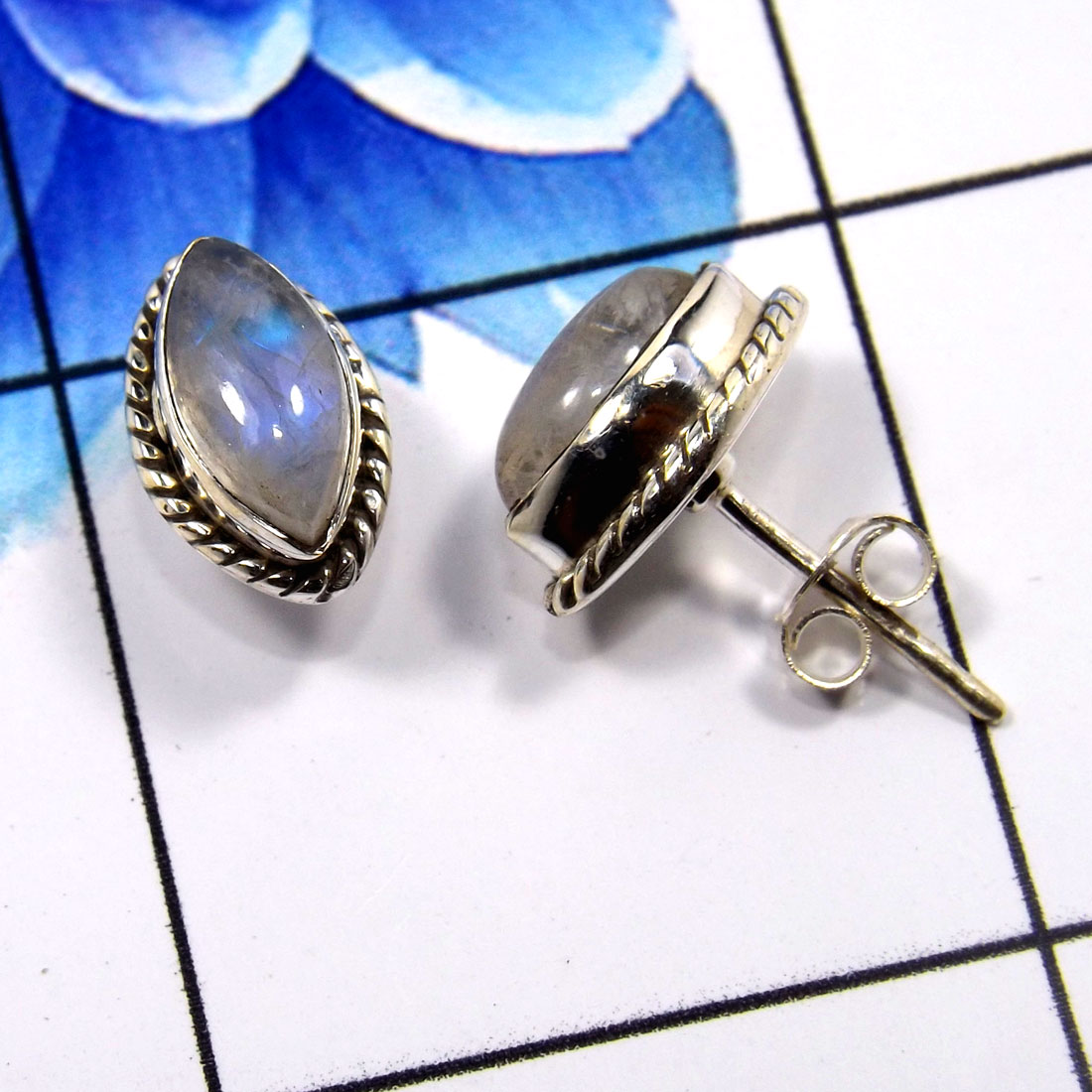 Rainbow Moonstone G - SSE858-Beautiful Handmade Colorful Stud Earrings 925 Sterling Si