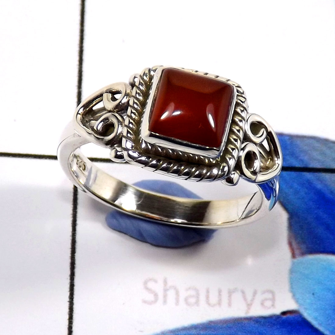 Red Onyx G - RBS907-Charming Party Wear  925 Sterling Silver Designer Baby Ri