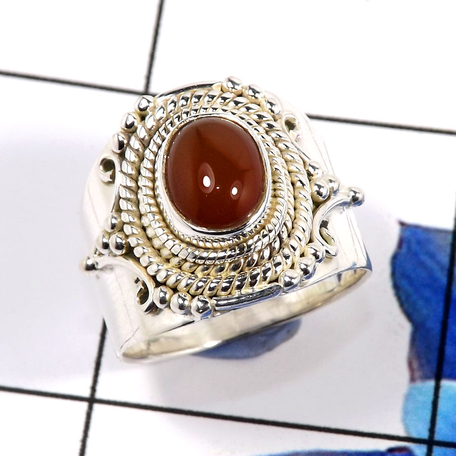 Red Onyx B - SDR669-Lovely New Look Designer Ring 925 Sterling Silver