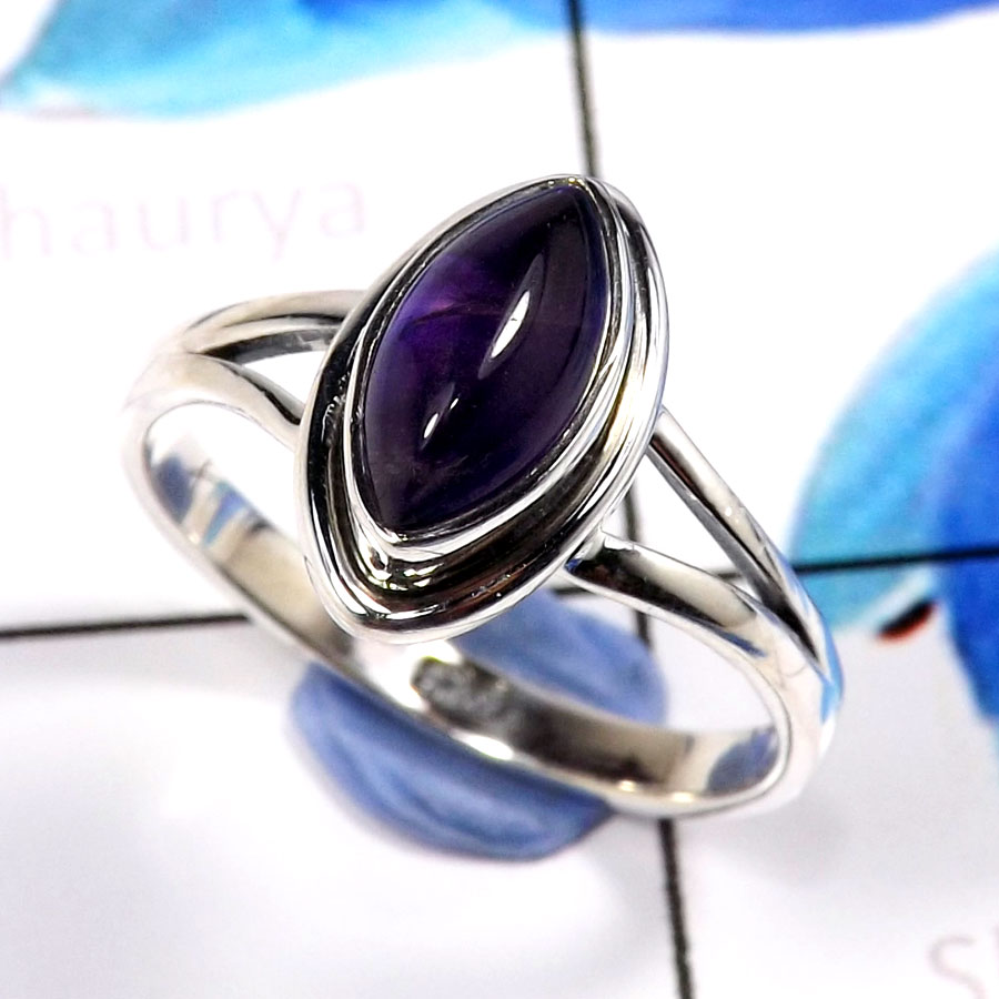 Amethyst Cab A - SHS993-Glorious Amethyst Cab Company Wholesale Rings 925 Sterlin