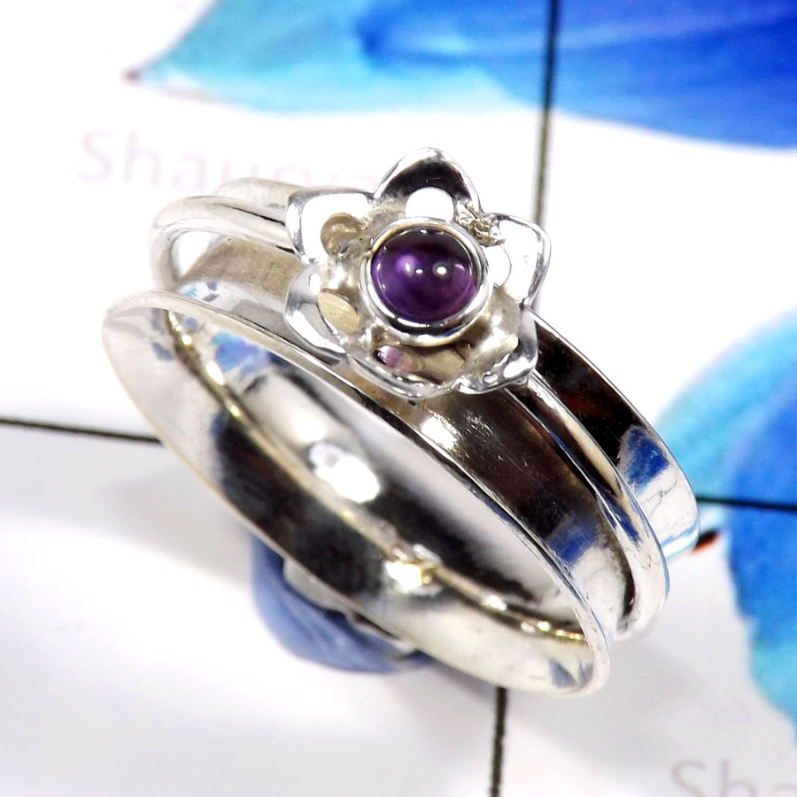Amethyst Cab D - SHS993-Glorious Amethyst Cab Company Wholesale Rings 925 Sterlin