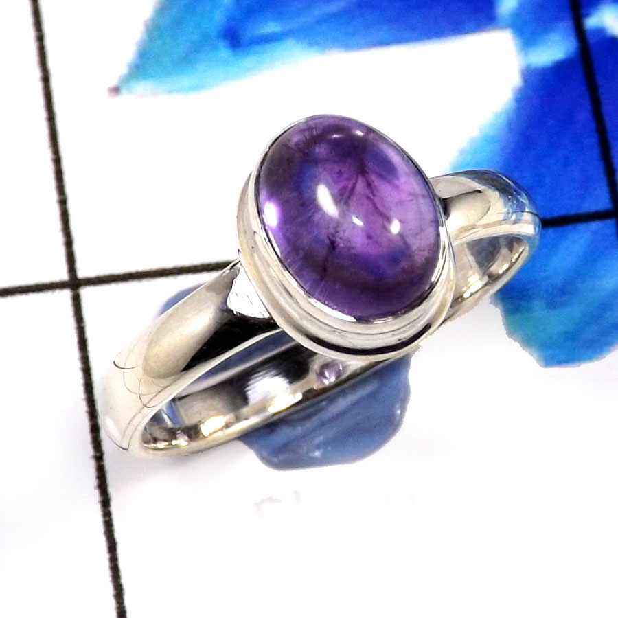 Amethyst Cab E - SHS993-Glorious Amethyst Cab Company Wholesale Rings 925 Sterlin