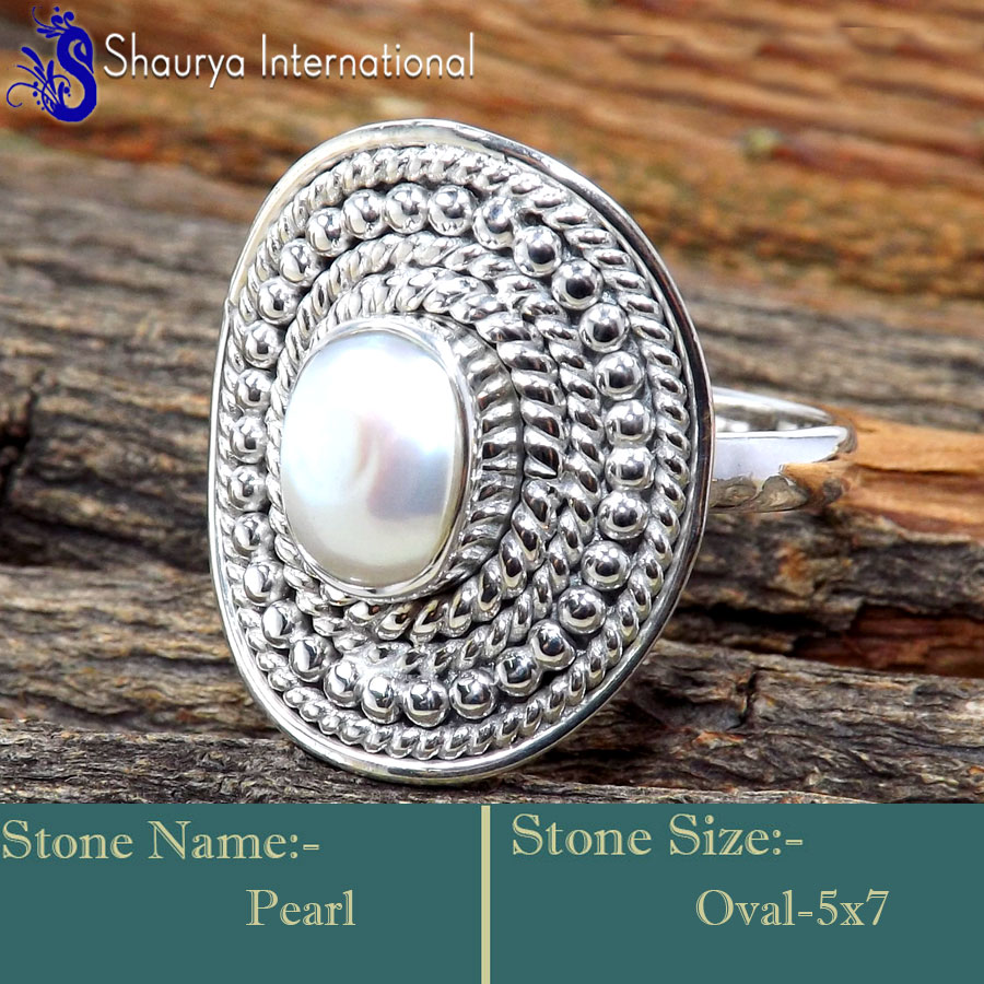 Pearl J - RSS862-Glamorous Cabochon Gemstone Exclusive Rings 925 Sterling