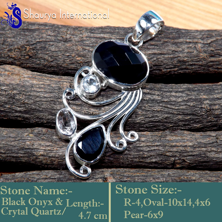Black Onyx,Crystal & Smokey Quartz I - SSP867-Charming Cut & Cabochon Wholesale Designer Pendants 925 S
