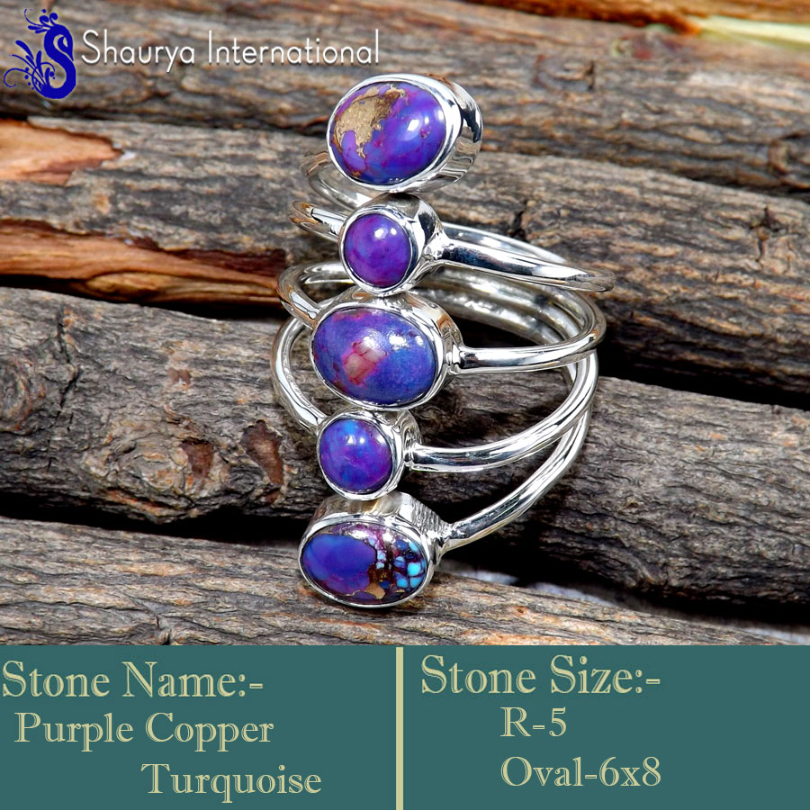 Purple Copper Turquoise A - SDR659-Valentine\'s Special Glorious Handmade Designer Rings 925
