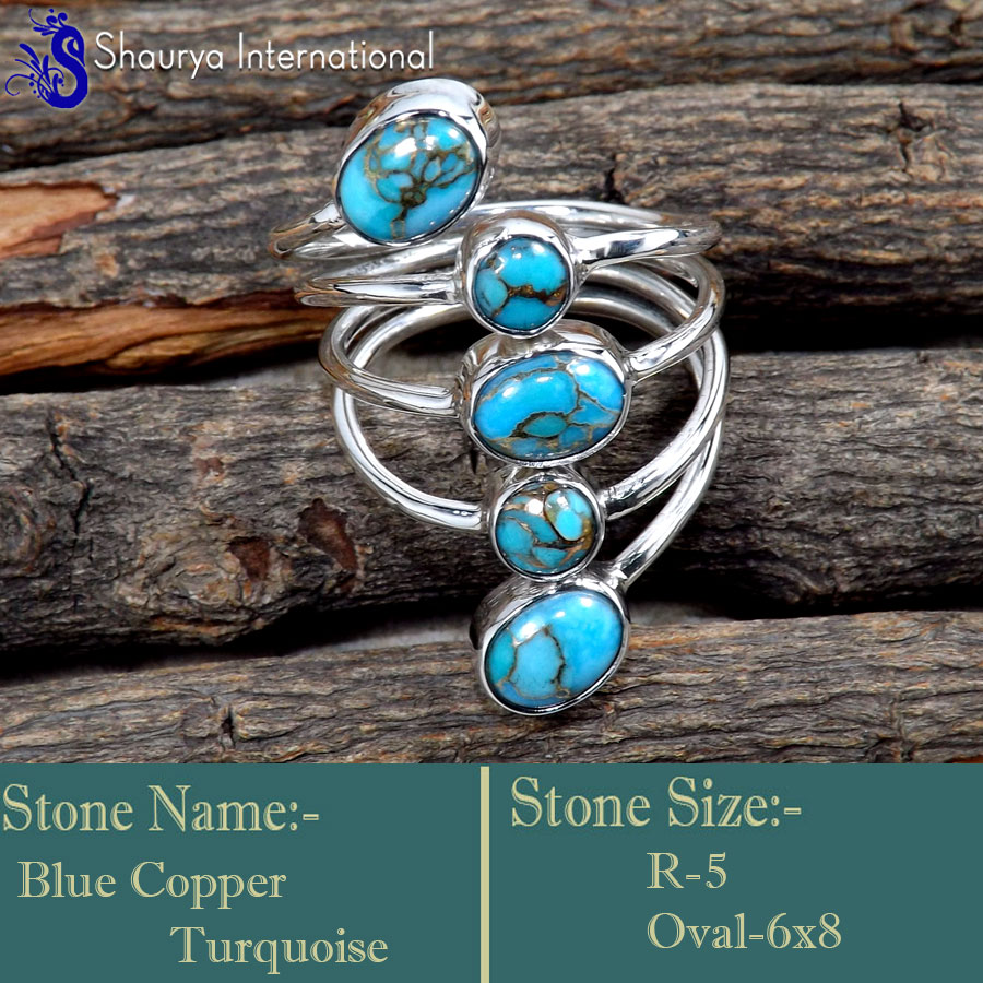 Blue Copper Turquoise F - SDR659-Valentine's Special Glorious Handmade Designer Rings 925