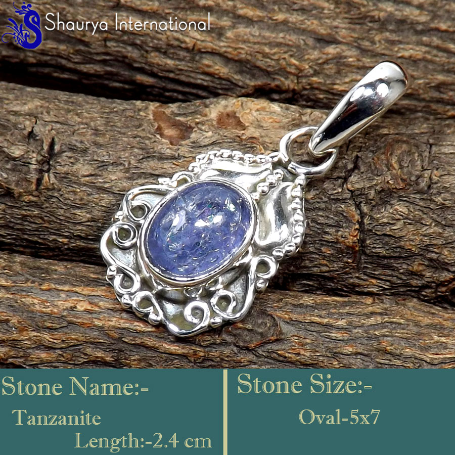 Tanzanite E - SD630-Fabulous Light Weight Handmade Designer Pendants 925 Sterl