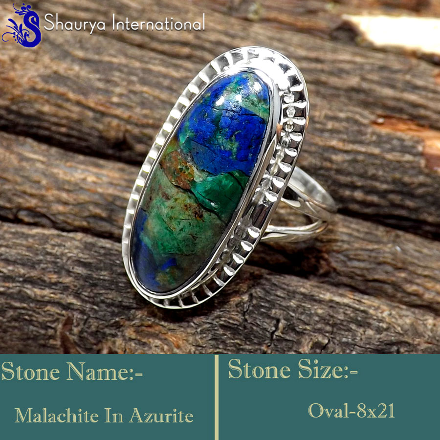 Malachite In Azurite E - SDR648-Graceful Latest Collection In Designer Rings 925 Sterling