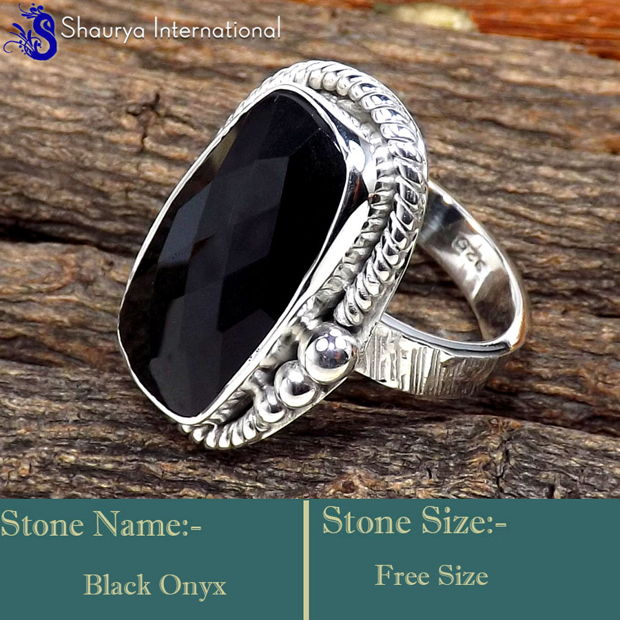 Black Onyx Cut O - SDR627-Indian Wholesale Company Handmade Designer Rings 925 Ster