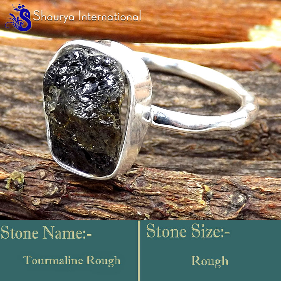 Tourmaline Rough A - SRR996-925 Sterling Silver Fabulous Rough Gemstone Rings Company