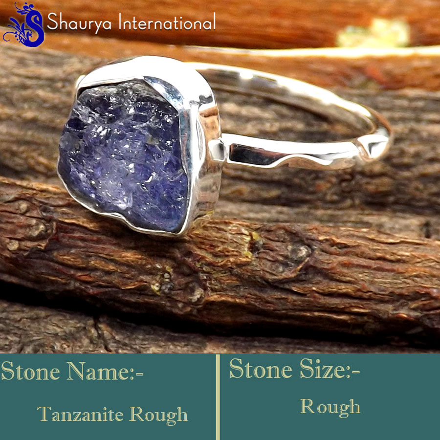 Tanzanite Rough C - SRR996-925 Sterling Silver Fabulous Rough Gemstone Rings Company