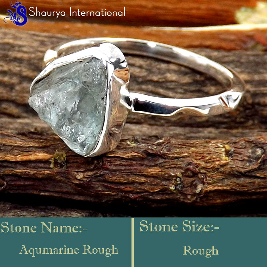 Aquamarine Rough D - SRR996-925 Sterling Silver Fabulous Rough Gemstone Rings Company