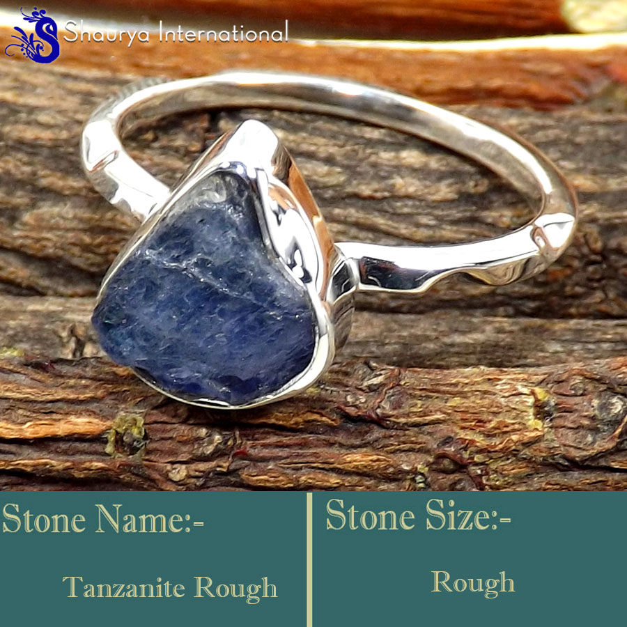 Tanzanite Rough E - SRR996-925 Sterling Silver Fabulous Rough Gemstone Rings Company